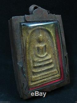 Antique Buddha Somdej Figure King Rama V On Throne Thai Amulet Pendant 19th C