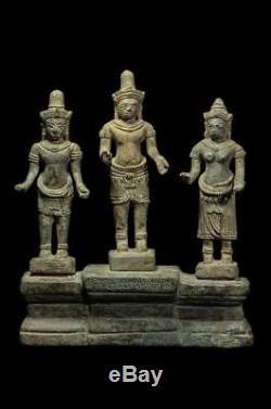 Antique Statues 3 Deity Buddha Bronze Bayon Angor Khmer Lopburi Thai Amulets