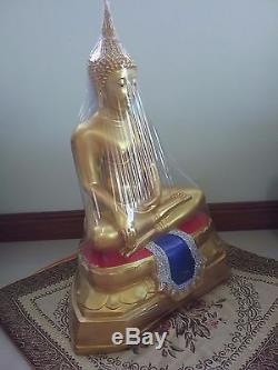 Antique Thai Buddha Amulet Bronze PHRA Shakyamuni RED BLUE statue Thai BE. 2499