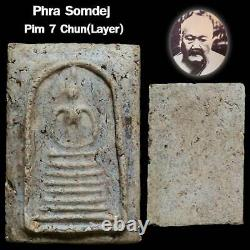 Antique Thai Buddha Amulet Phra Somdej Pim 7 Layers Base Old Rare Thailand