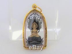 Antique Vintage 18K Solid Gold Case BUDDHA Naga Mahapokasap Thai Amulet Pendant