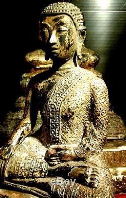 Antiques Gilt Bronze Buddha Statues Ratana 18th. C Phra Malai Thai Amulets Rare