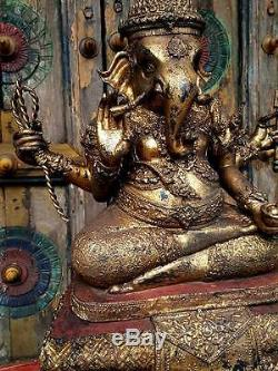 Antiques Gilt Bronze Lord Ganesha 18th. Century Buddha Statues Thai Amulets Rare