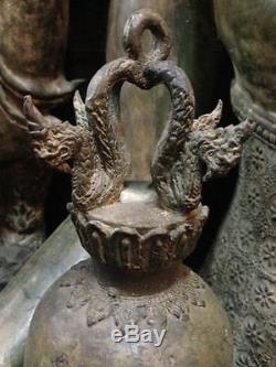 Bell Antique Amulet Dragon Thai Flower Clapper Buddha Temple Chime Sound Hanging