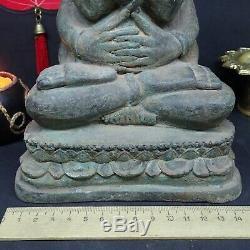 Big Buddha Phra Pidta Statue Closed Eyes old Bronze Thai Monk Art Antique 18.5cm