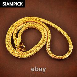 Big Snake Chain Necklace Thai Gold Jewelry 24K Gold Amulet Buddha Necklace GIFT