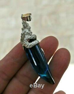 Blue Sea Pendent Nok Phra Gow Lucky Gem Naga Eye Crystal Thai Amulet Buddha #59#