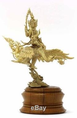 Bronze Statues Phra Phrom 4 Face Rider Swan Teak Thai Buddha Amulet Wealth Rich