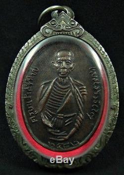 Buddha Bronze Statue Coin Thai Monk Kruba Sriwichai Figure Model Silver Case
