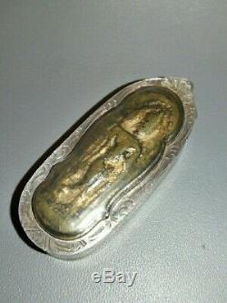 Buddha Phra Pang Leela Thung Setthi Antique Case Thai Amulet Charm Old Talisman