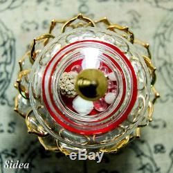 Buddha Relics Phra Tath Sakayamuni Sarira Holy Thai Amulet Lotus Glass Case Gold
