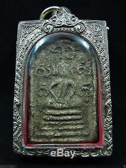 Buddha'Somdej Chaloem Phra Kiat' First Rattanakosin Era Thai Amulet Silver Case