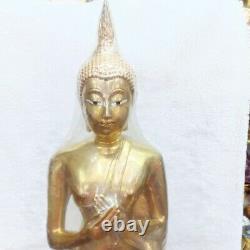 Buddha Standing Meditation healing Brass Statue Amulet Antique Sacred Thai