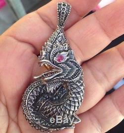 Buddha Talisman Naga Dragon Pendant Necklace Sterling Silver Holy Thai Amulet