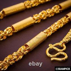 Byzantine Chain Necklace 23K 24K Gold Jewelry Thai Baht Amulet Buddha Necklace
