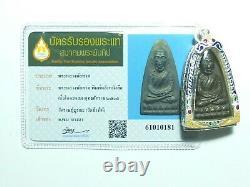 Certificate Thai Amulet Buddha Southeast Antique Phra Lp Thuad 2505 Wat Changhai