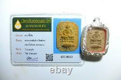 Certificated Thai Buddha Amulet Phra Lp Pan Ride The Fighting Fish