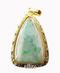 Chinnarat Buddha Jade Gold Case Gp 18k Gemstone Holy Buddha Rare Thai Amulet