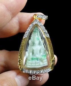 Chinnarat Buddha Jade Gold Case (gp) 18k Gemstone Holy Buddha Rare Thai Amulet