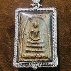 Collectible Thai Buddha Amulet Pendant In Silver Diamond Case Jewelry Necklace