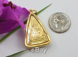 Detail Solid 18K 75% Pure Gold Framed Thai Buddha Amulet Pra Chinnaraj Pandant
