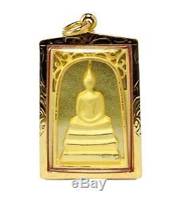 Detail Solid 18K 75% Pure Gold Framed Thai Buddha Amulet Pra Somdaj Pendant