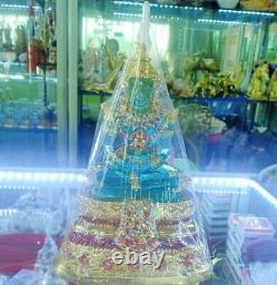 Emerald Buddha Statue Amulet Green -Blue Meditation Antique Sacred Thai Glod