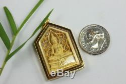 Famous Solid 18K 75% Pure Gold Framed Thai Buddha Sothorn Amulet Pendant