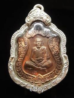 GENUINE! Thai Buddha Amulet LP MOON 4 TEMPLE CODE SILVER CASE PENDANT THAILAND