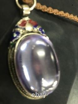 Gems Naga Eye Crystal Real Thai Amulet Lucky Powerful Buddha Holy Pendent Purple