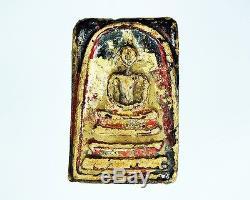 Genuine Thai Amulet Phra Somdej Wat Rakang Phim Yai And Gilded Sacred Buddha Old