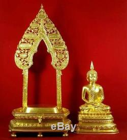 Gilt Brass Buddha Statues Magnificent Thai Amulet B. E. 2527 Wealth Temple