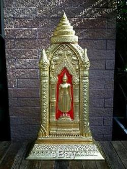 Gilt Brass Magnificent Buddha Walking Wall Meditation Thai Amulet Statues Wealth