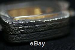 Gilt Clay Buddha & Chicken in Aged Decorative Case Thai Buddhist Amulet PTB010