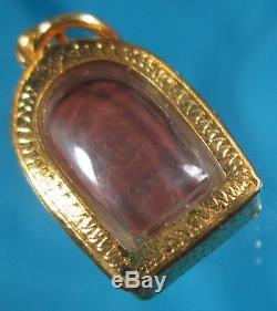 Gold 18K Pra Luang Pu toh Wat Pradu Chimphli Thai Amulet Temple Medallion Buddha