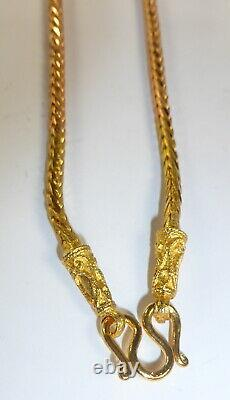 Gold plated foxtail chain necklace for 1 Thai Buddha amulet pendant 24 inches