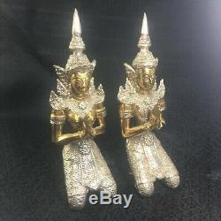 Guardian Angel Statue Figurine Thai Buddha Amulet Lucky Charm Fengshui Decor 2pc