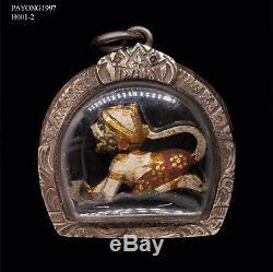 HANUMAN Ramayana Monkey LP Boon Wat KrangBangKaow Wood carve Thai Buddha Amulet
