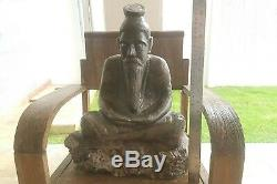 HUGE Powerful Ruesri Hermit Solid LEKLAI Carved Buddha Thai Amulet #aa1963a