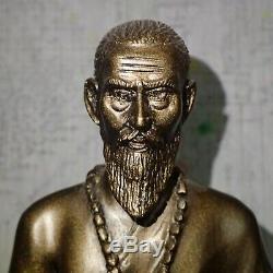 Hermit Lersi Chiwok Buddha Statue Talisman Thai Sitting Figure Brass Amulet