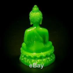 Jade Carved Statue BUDDHA Protection Life Good Luck Thai Amulet Green Color