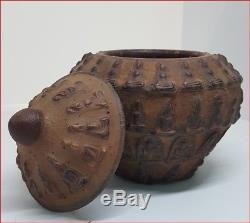 Jar Baked Clay Amulet Pattern Old Ancient Pra Thai Buddha Magic Power and Lucky