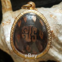 Jumbo Closed Eye Pit Ta Carved Jade Emerald Buddha Temple Thai Amulet #8017g
