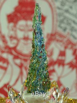 King Phaya Kaew Rattanachart Leklai rainbow crystal Thai Buddha MINERAL Amulet