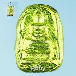 LEKLAI SOMDEJ THONGPLALAI gold LP WATCHARA protect Rare thai buddha amulet 877