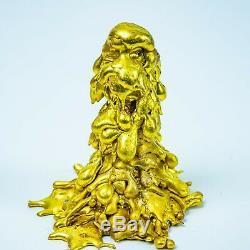 LEKLAI THONGPLALAI gold CORE protect magic lucky Rare thai buddha amulet 964