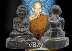 LP Khamphan Amulet Leklai Thai Buddha Black 7 Color Rainbow Wealth Natural Holy