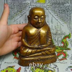 LP Ngern Thai Monk Buddhism Talisman Ngern Sitting Sculpture Brass Buddha Figure