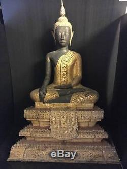 Large Antique Bronze Gilt Buddha sitting Rattanakosin 18C Thai Amulets Statues