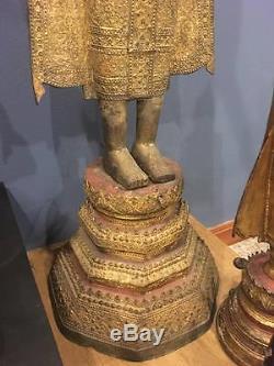 Large Antiques Bronze Gilt Buddha Rattanakosin 18th C Thai Amulets Statues Rare